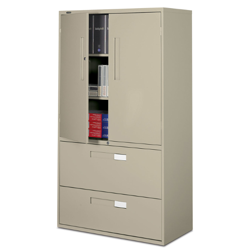 This combination storage cabinet/lateral file comes with one moveable shelf and two fixed ones. The bottom two drawers are standard lateral filing system.  sc 1 st  Crown Office Furniture & 9300P Multi Storage Cabinet - Crown Office Furniture | Tulsa Oklahoma