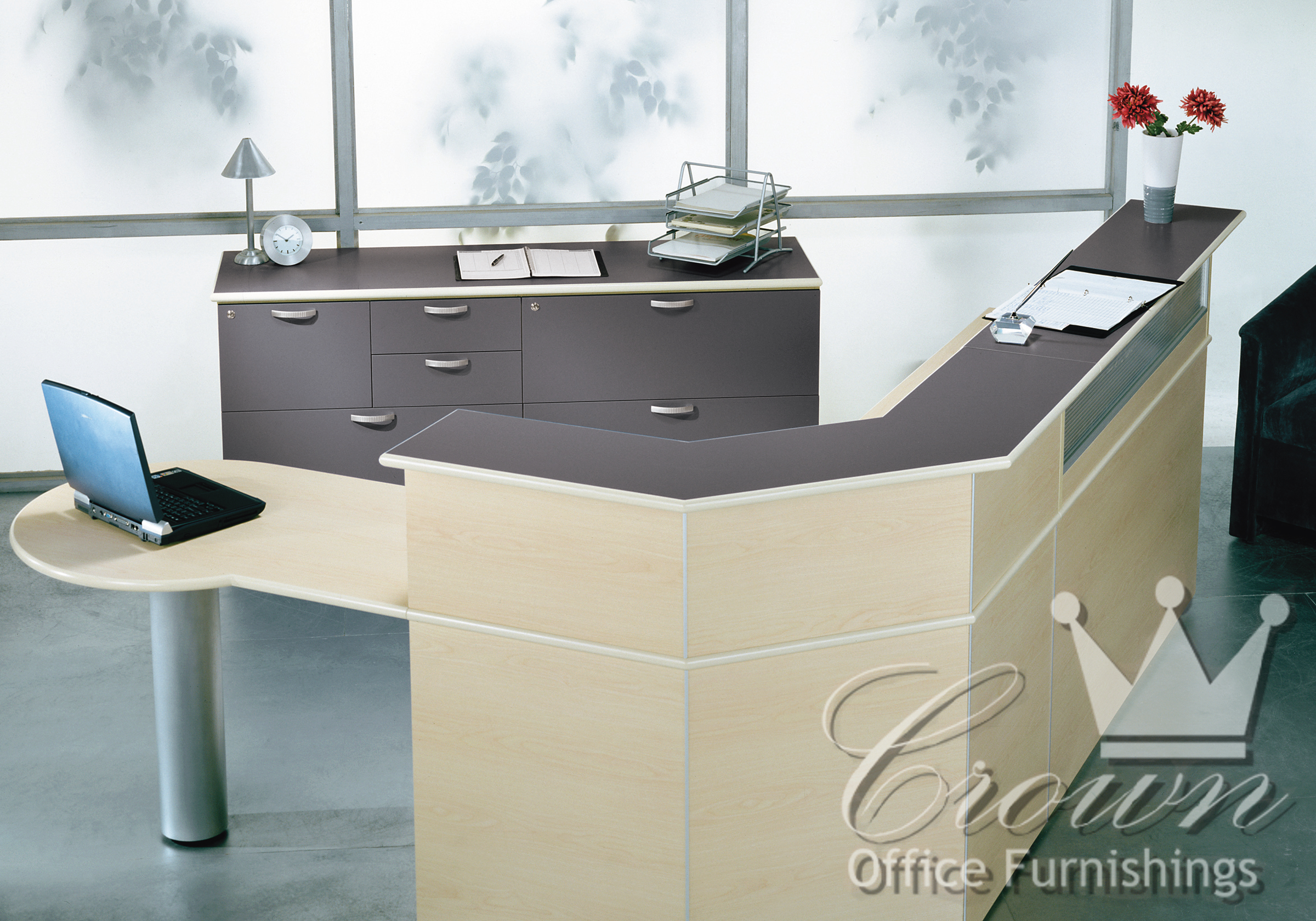 Transitional Reception Desks Bring Life And Color To Any Area Or Office Space Standing Height Transaction Counters Optional Floating Glass Tops