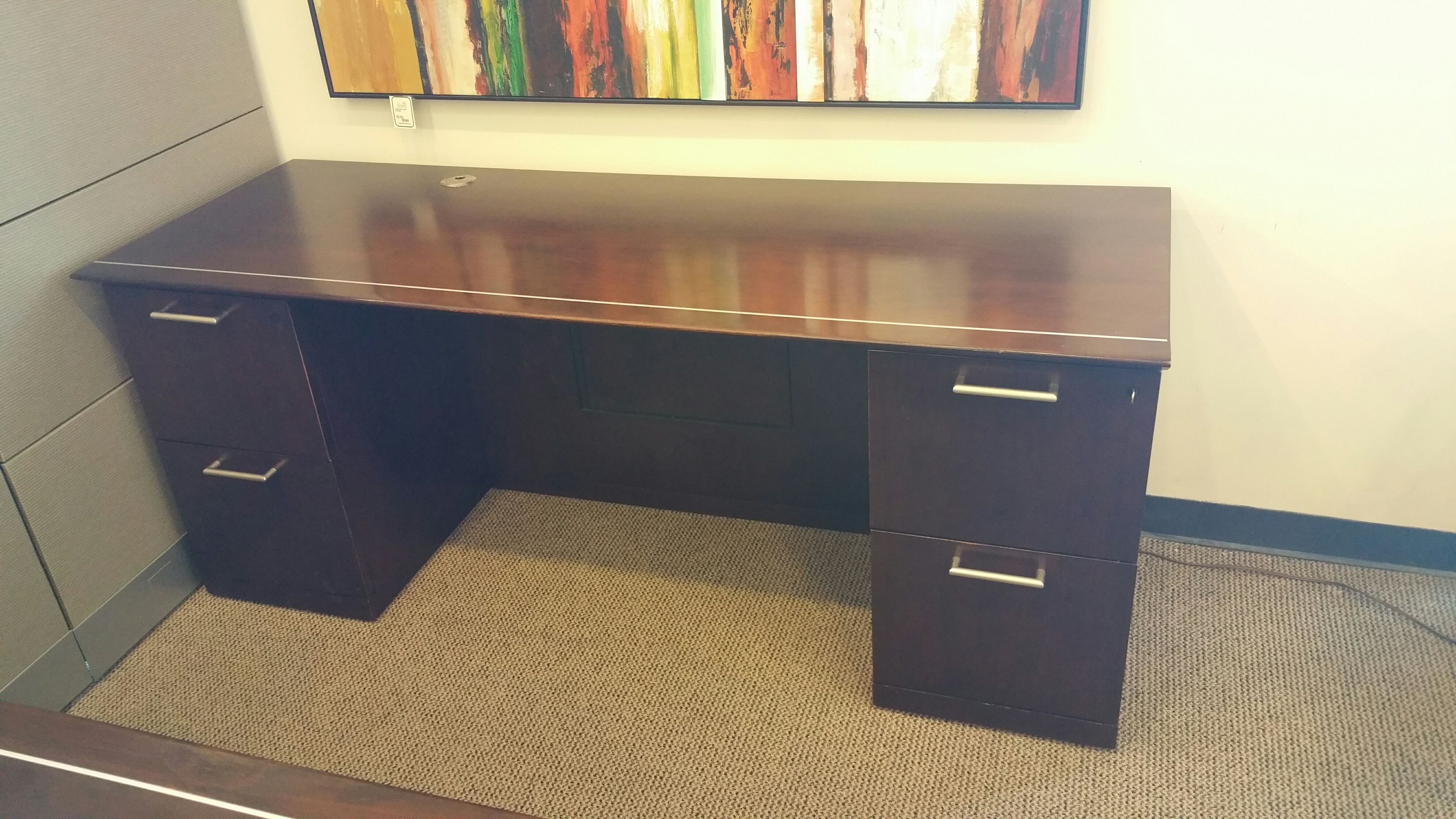 Pre Owned Knoll Reff Bowfront Desk And Credenza Set Crown Office Furniture Tulsa Oklahoma